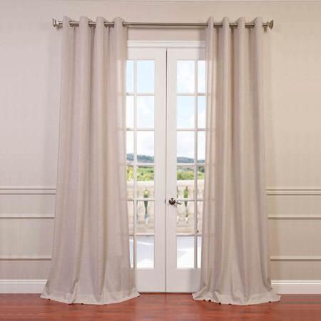 Pebble Rock Faux Linen Grommet Semi Sheer Curtain