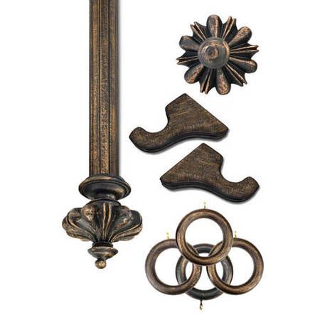 Istanbul Antique Bronze Prepacked Wooden Rod Set