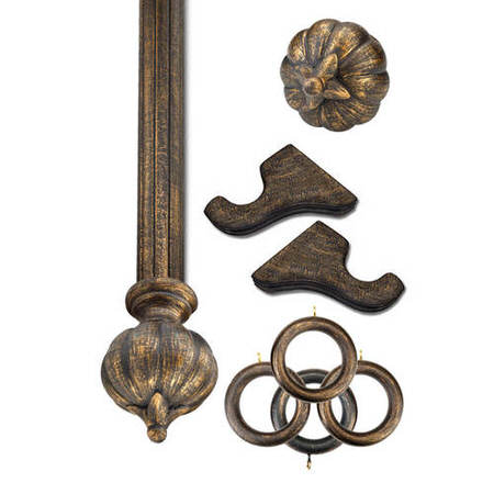 Sofia Antique Bronze Prepacked Wooden Rod Set