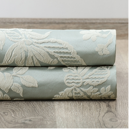 Magdelena Steel Blue & Silver Faux Silk Jacquard Swatch