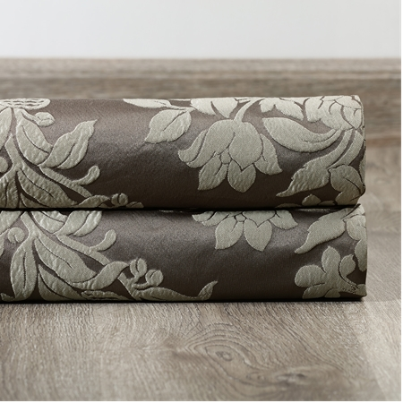 Magdelena Slate & Silver Faux Silk Jacquard Swatch