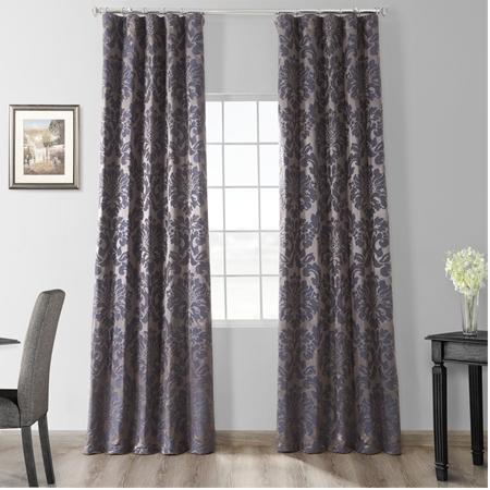 Astoria Mercury Grey & Dark Sapphire Faux Silk Jacquard Curtain