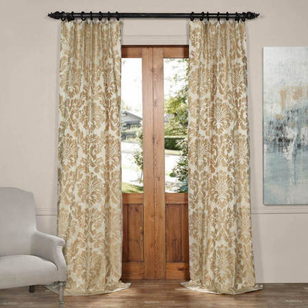 Astoria Tan & Ecru Faux Silk Jacquard Curtain