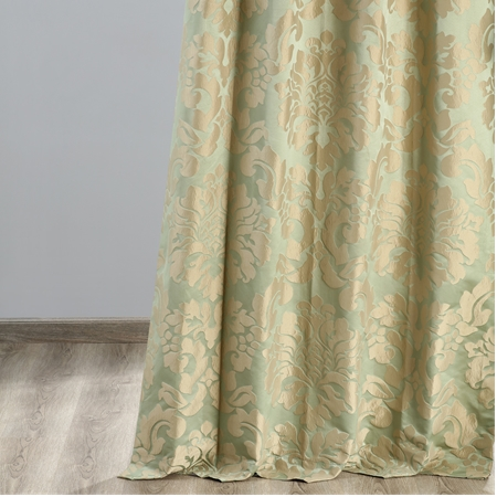 Astoria Jade & Taupe Faux Silk Jacquard Curtain