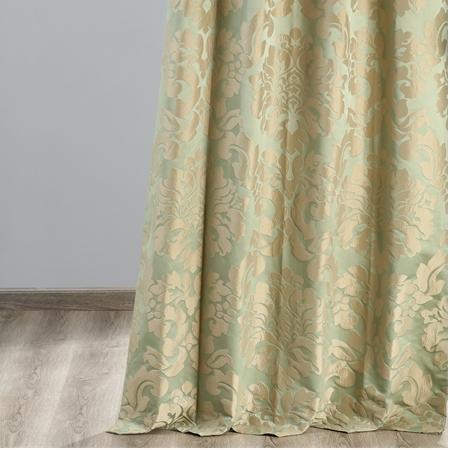 Astoria Jade & Taupe Faux Silk Jacquard Curtain