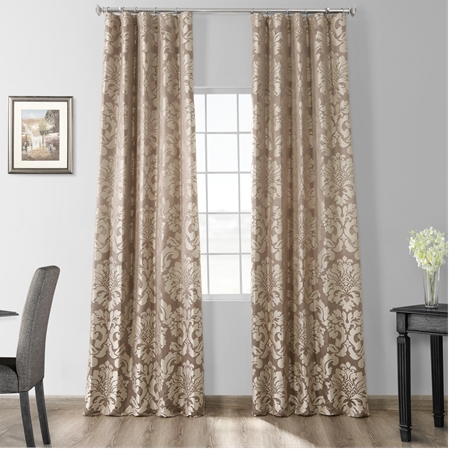 Astoria Bronze & Taupe Faux Silk Jacquard Curtain