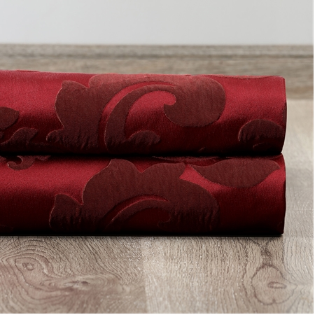 Astoria Red & Bronze Faux Silk Jacquard Swatch
