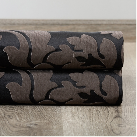 Astoria Black & Pewter Faux Silk Jacquard Swatch