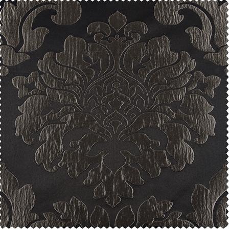 Astoria Black & Pewter Faux Silk Jacquard Swatch