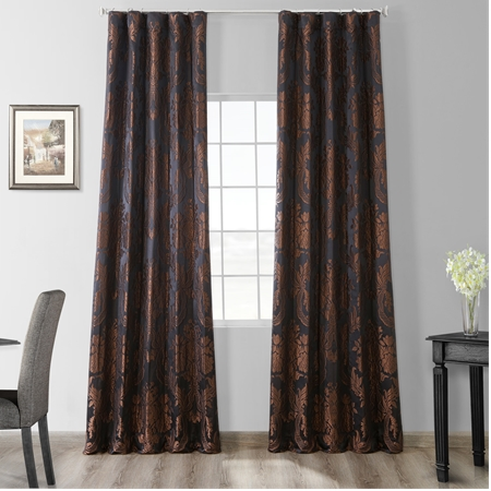 Magdelena Black & Cognac Faux Silk Jacquard Curtain