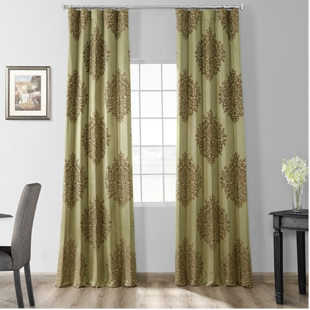 Ellaria Mantis Green Faux Silk Jacquard Curtain