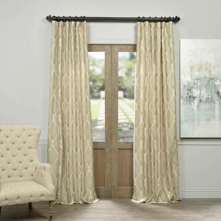 Molokai Taupe Faux Silk Jacquard Curtain