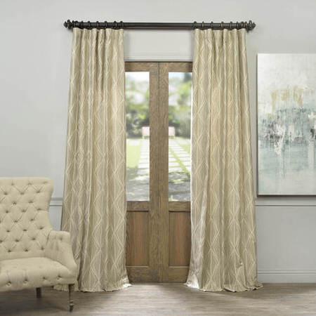 Hawaii Taupe Faux Silk Jacquard Curtain