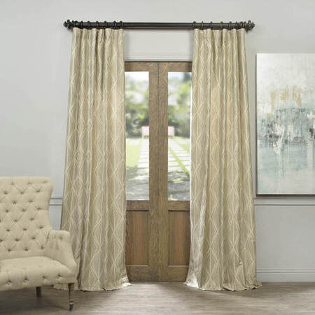 Hawaii Taupe Faux Silk Jacquard Curtain