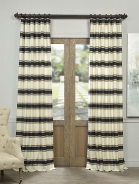 Black Liquorice Bold Horizontal Stripe Jacquard Curtain