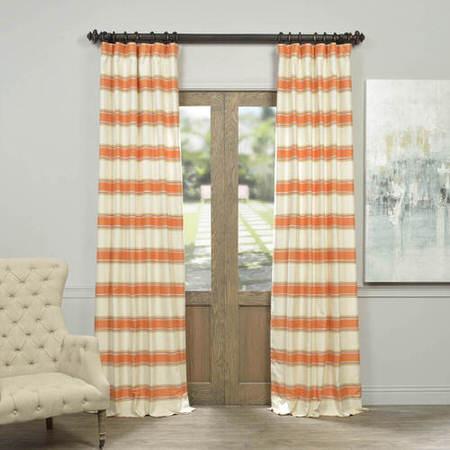 Creamsicle Bold Horizontal Stripe Jacquard Curtain