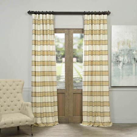 Crème Brulee Bold Horizontal Stripe Jacquard Curtain
