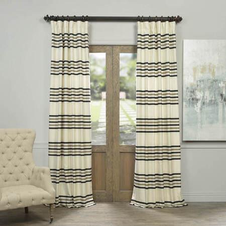 Black Liquorice Horizontal Stripe Jacquard Curtain