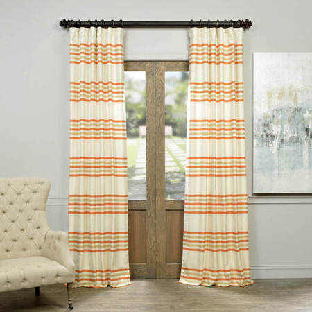 Creamsicle Horizontal Stripe Jacquard Curtain