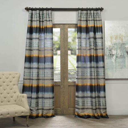 Blue Horizon Faux Silk Jacquard Curtain