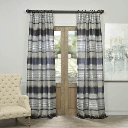 Eden Grey Black Faux Silk Jacquard Curtain
