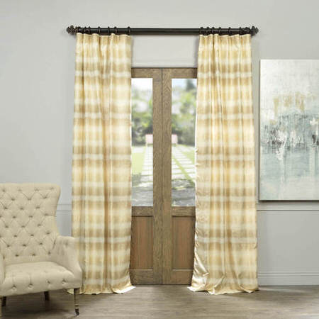 Surge Gold Ivory Horizontal Stripe Faux Silk Jacquard Curtain