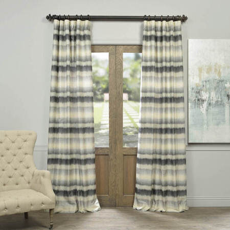 Hazey Sunset Horizontal Stripe Faux Silk Jacquard Curtain