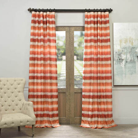 Surge Rust Ivory Horizontal Stripe Faux Silk Jacquard Curtain