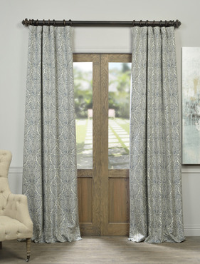 Ayr Blue Faux Silk Jacquard Curtain