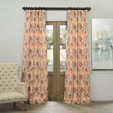 Kauai Coral Faux Silk Jacquard Curtain