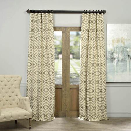Maui Taupe Faux Silk Jacquard Curtain