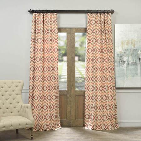 Maui Coral Faux Silk Jacquard Curtain