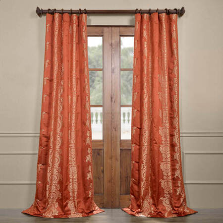 Surrey Russet Faux Silk Jacquard Curtain