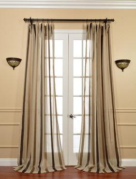 Carlton Taupe Linen Blend Stripe Sheer Curtain