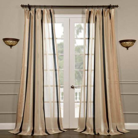 Carlton Natural Linen Blend Stripe Sheer Curtain