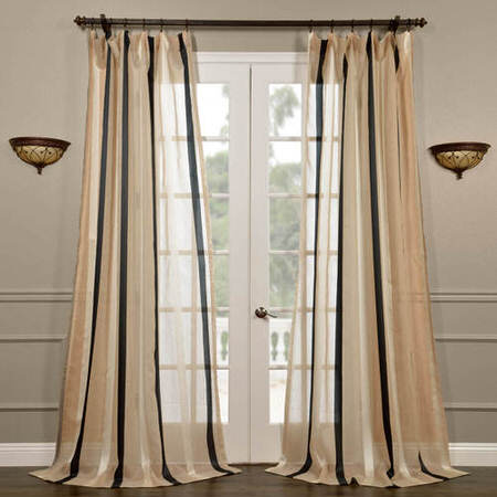 Carlton Natural Linen Blend Stripe Sheer Curtain