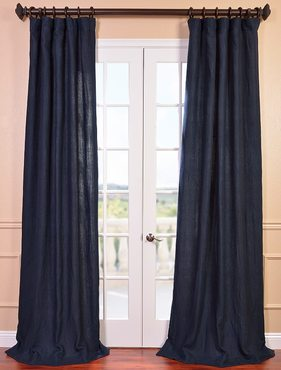 Denim Blue French Linen Curtain