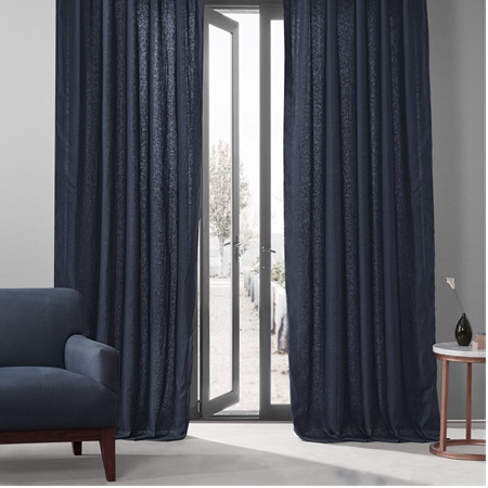 True Navy French Linen Curtain