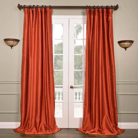 Blood Orange Yarn Dyed Faux Dupioni Silk Curtain