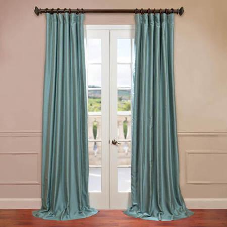 Blue Agave Yarn Dyed Faux Dupioni Silk Curtain