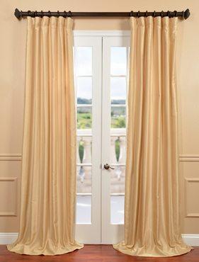 Parchment Yarn Dyed Faux Dupioni Silk Curtain