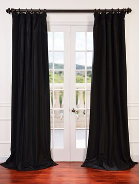 Black Blackout Vintage Textured Faux Dupioni Silk Curtain