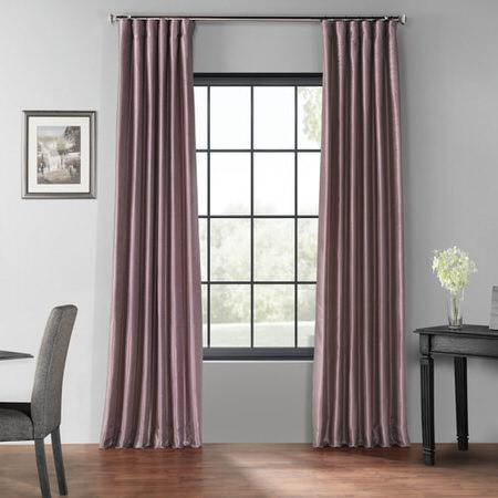 Smokey Plum Blackout Vintage Textured Faux Dupioni Curtain
