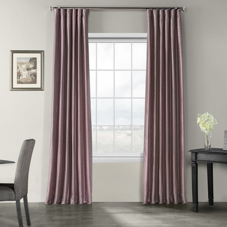 Smokey Plum Vintage Textured Faux Dupioni Silk Curtain
