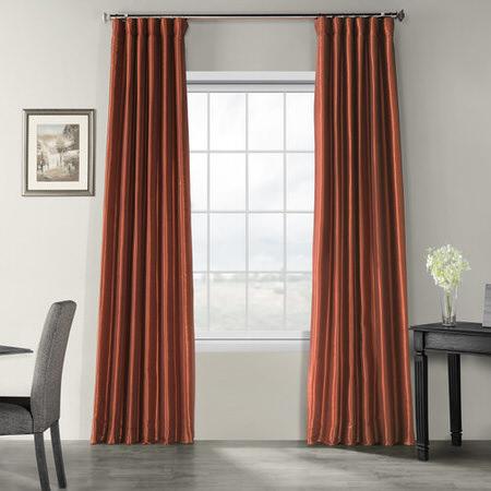 Burnt Orange Vintage Textured Faux Dupioni Silk Curtain