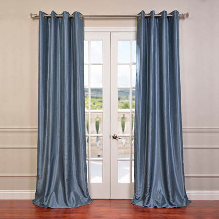 Provencial Blue Grommet Blackout Vintage Textured Faux Dupioni Silk Curtain