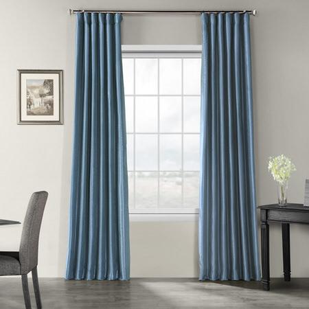 Provencial Blue Vintage Textured Faux Dupioni Silk Curtain