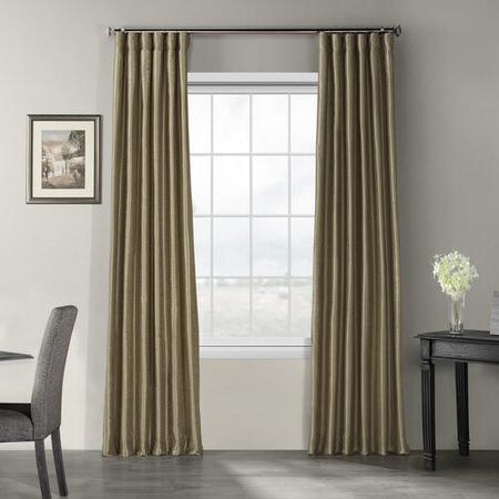 Warm Stone Vintage Textured Faux Dupioni Silk Curtain