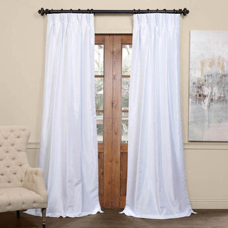 Ice Blackout Vintage Textured Faux Dupioni Pleated Curtain