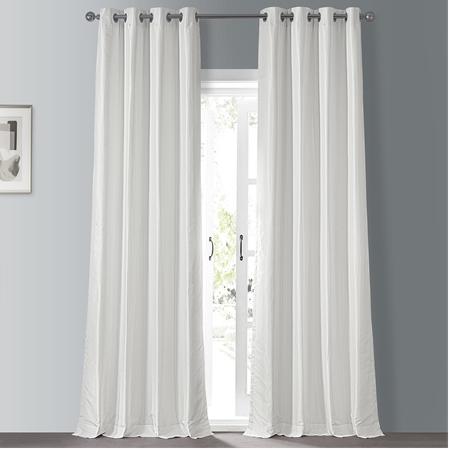 Off White Grommet Blackout Vintage Textured Faux Dupioni Silk Curtain